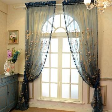 2015新款欧式奢华绣花厂家直销 橱窗飘窗卧室客厅绣花纱帘 散剪