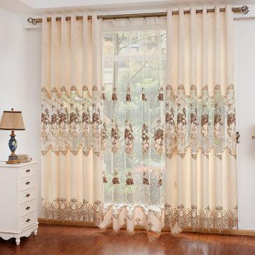 欧式田园雪尼尔镂空贴纱绣花窗帘布料 客厅卧室窗帘