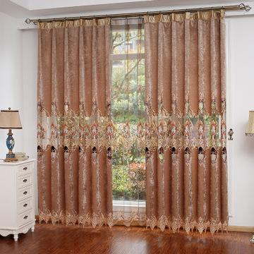 欧式雪尼尔镂空绣花窗帘布料 客厅卧室窗帘批发零剪
