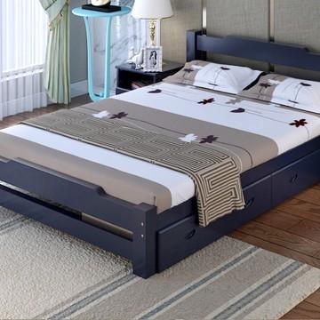 8松木床儿童床单人床简易木床白漆床出租房床