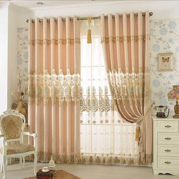 2016新款窗帘布欧式高档雪尼尔绣花纱客厅卧室飘窗成品定制八字花图片