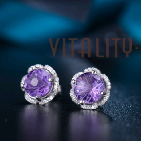 V6银饰葡萄紫水晶耳坠