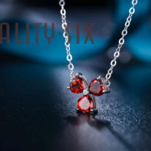 珊瑚红水晶银饰链