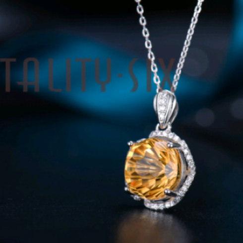V6银饰橘子橙水晶吊坠