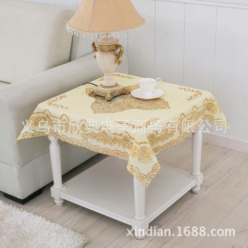 欧式烫金茶几垫pvc桌布90厘米正方形餐垫镂空台布