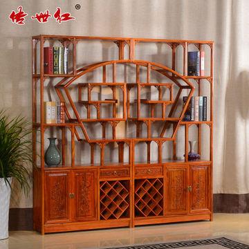 传世红实木家具榆木仿古中式陈列架古董茶叶架实木多宝阁博古架
