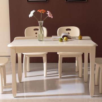 小憨豆 欧式美式烤漆实木小餐桌4人6人 简约欧式餐桌椅组合长方形