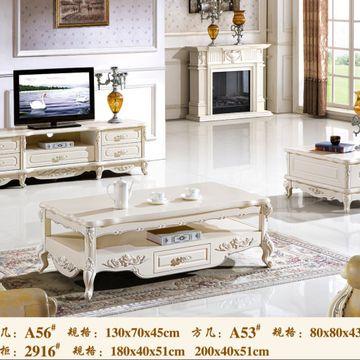 欧式大理石电视柜法式实木茶几客厅家具简欧实木茶几电视柜组合