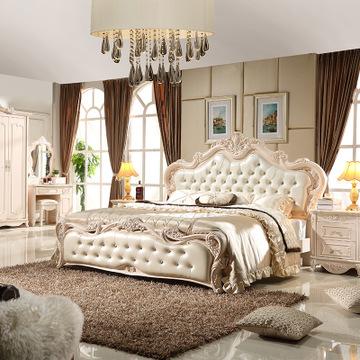 欧式双人床1.8米实木新古典家具雕花卧室床床铺气压高箱储物床