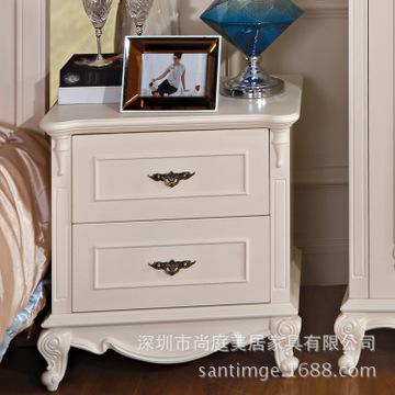 白色田园实木雕花床头柜简约欧式两抽床边柜收纳抽屉柜特价床前柜图片