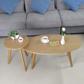 北欧宜家茶几椭圆桌 日式实木家具沙发边几角几咖啡桌水曲柳茶桌-爱