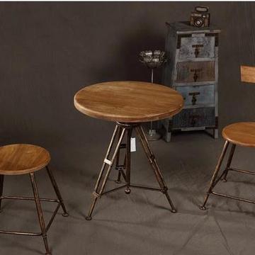 欧式复古咖啡桌酒吧圆桌铁艺吧台桌椅 户外阳台休闲实木桌椅组合
