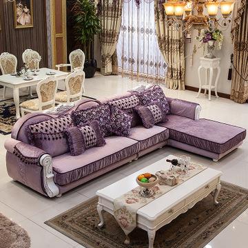 欧式布艺沙发 客厅家具大小户型沙发组合转角布沙发