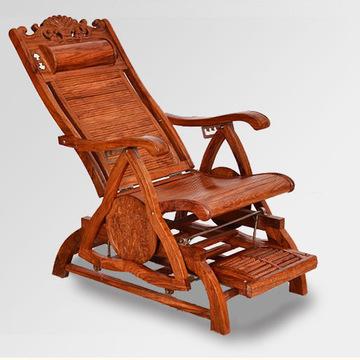 红木摇椅 逍遥椅 躺椅 非洲花梨木 实木中式休闲椅老人椅洋花摇椅