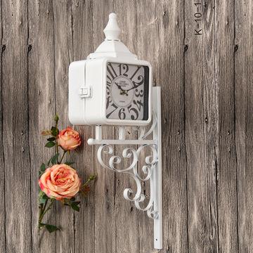 欧式工艺挂钟复古 仿古做旧工艺墙面装饰钟 复古挂钟 白色壁饰钟