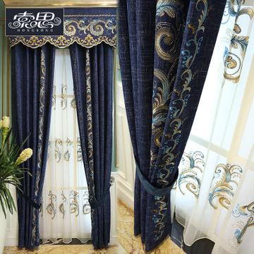 索思高档欧式浮雕提花工艺窗帘成品 中式客厅卧室遮光定制维纳多