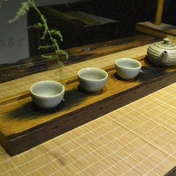 船木日式干泡茶盘长方形整板实木干泡盘杯托复古高档