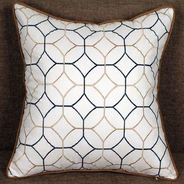 经典欧式风格 棉麻绣花抱枕 创意铜钱图案靠垫 床头沙发靠枕方枕