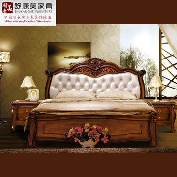 批发古典欧式家具实木 欧式实木雕花床 1.8米双人实木床皮艺婚床