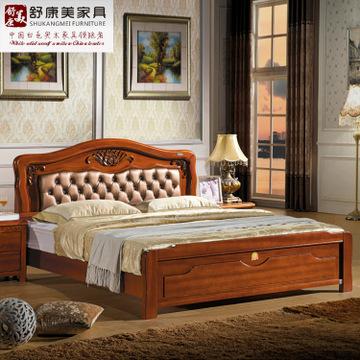 厂家批发欧式古典实木床 胡桃红木实木床 1.8米双人低箱床可定制