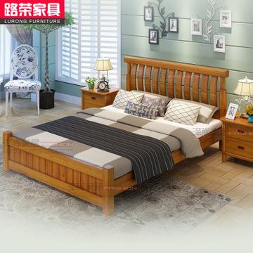 高档全实木床双人 中式卧室家具 实木床特价 单人床 木板床定制