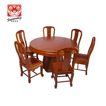 实力厂家直销 红木家具 非洲菠萝格 花梨色 红木餐台 平面圆台