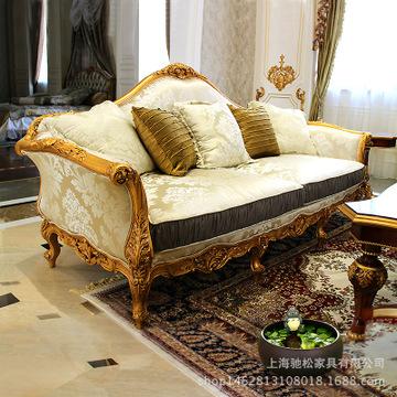 欧式古典手工雕刻沙发美式法式高档宫廷奢华布艺描金
