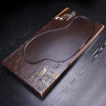 黑檀木手绘茶盘 纯手工平雕彩绘茶盘 整块黑檀实木大号茶台