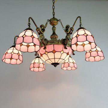 特价简约 铁艺客厅6头蒂凡尼灯饰 多头地中海吊灯酒吧灯玻璃灯饰