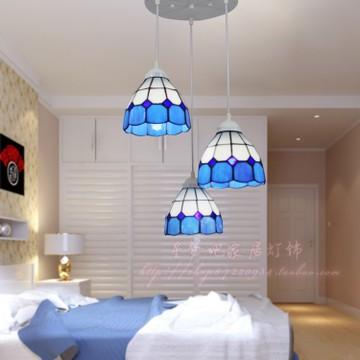 蒂凡尼吊灯地中海灯饰欧式客厅餐厅吊灯具简欧蓝色帝凡尼简约风格