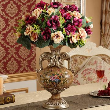 树脂象头欧式花瓶摆件 美式奢华复古家居装饰工艺品 客厅花器花插