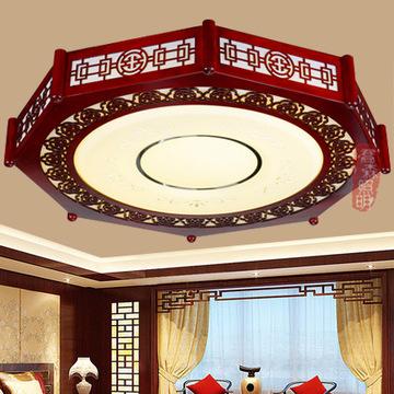 中式高档实木雕花圆形吸顶灯 亚克力节能led吸顶灯客厅卧室吸顶灯