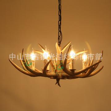 美式复古鹿角吊灯客厅灯卧室餐厅灯树脂个性创意中山古镇灯饰批发