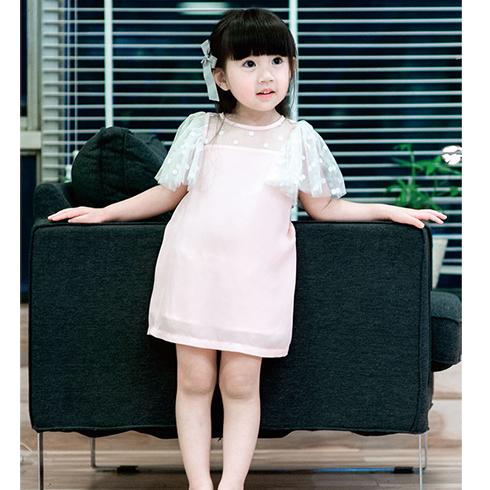 纱纱袖直筒连衣裙