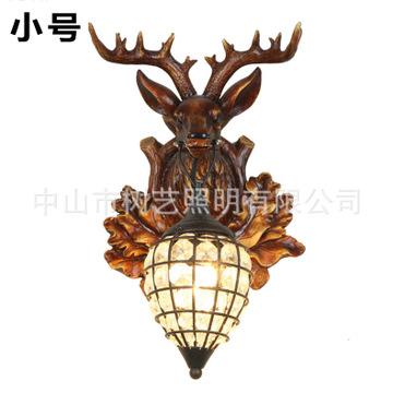创意美式乡村鹿角壁灯欧式个性工业复古客厅床头走廊阳台鹿头壁灯