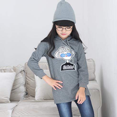 贝蕾尔-眼镜短发女灰色卫衣童装韩版潮流