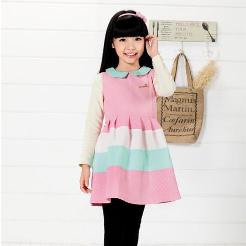 木木雨雨童装-彩色条纹连衣裙长袖