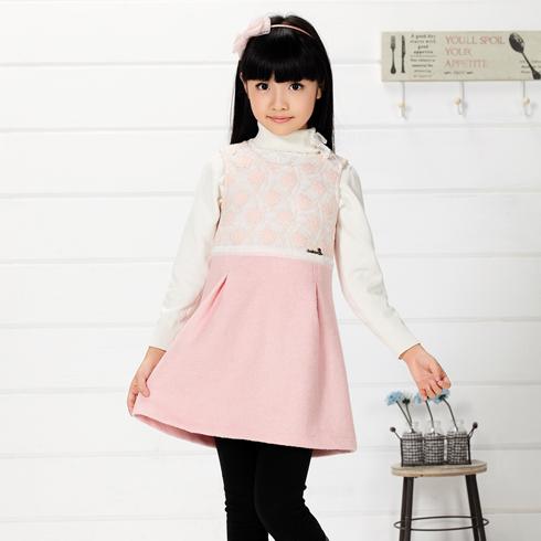 木木雨雨童装-粉粉花中长款连衣裙童装