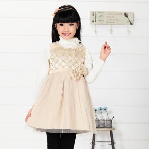 木木雨雨童装-雪纺蝴蝶结连衣裙