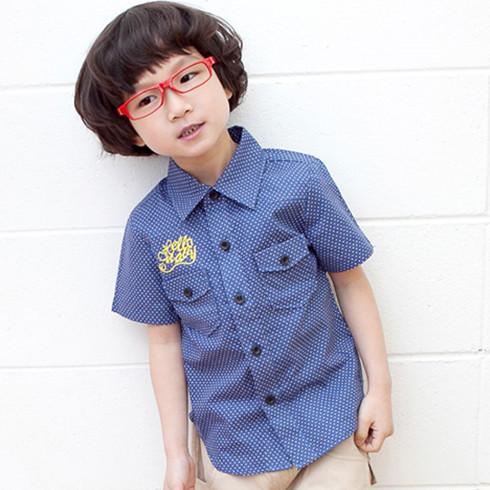 韩系休闲风潮童衬衫