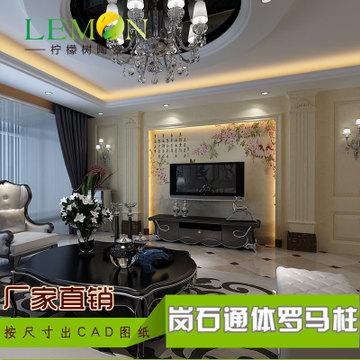简约大理石罗马柱 欧式仿客厅3d瓷砖精雕背景墙 佛山厂家定制