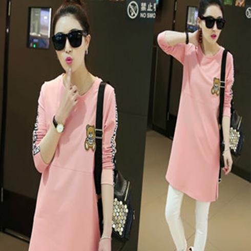 千贝惠女装-粉色长款大衣