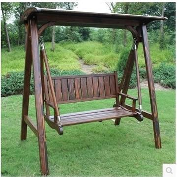 户外实木秋千木头摇椅 防腐木拉丝刻纹碳化木质吊椅庭院阳台摇篮