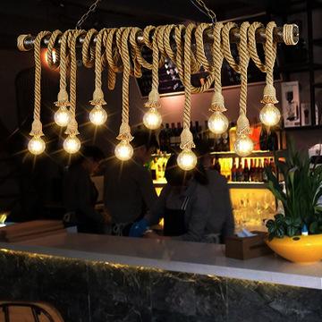 麻绳吊灯6头咖啡馆吧台服装店北欧复古工业装饰吊灯