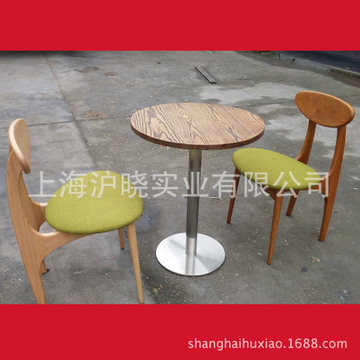咖啡桌 奶茶店小桌子 快餐店桌子 实木小圆桌 快餐圆桌