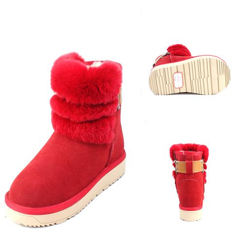 红色冬季保暖短靴