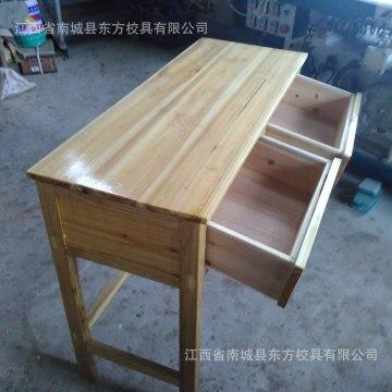 厂家直销双人实木课桌带抽屉实木课桌学生课桌培训课桌特价批发