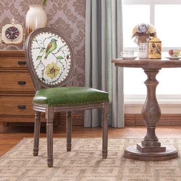 椅子休闲椅美式靠背椅新古典咖啡椅复古书桌椅龙门椅