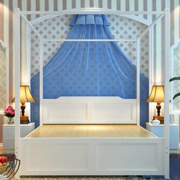 卧室美式双人床四柱子床松木家具