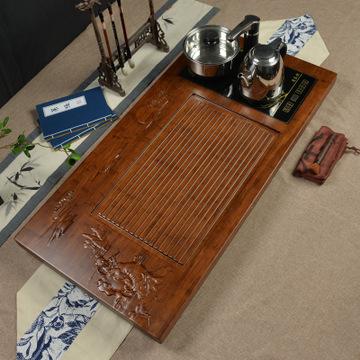 新款 实木竹红檀茶盘 框架套装茶台茶海 电磁炉位 特价功夫茶道